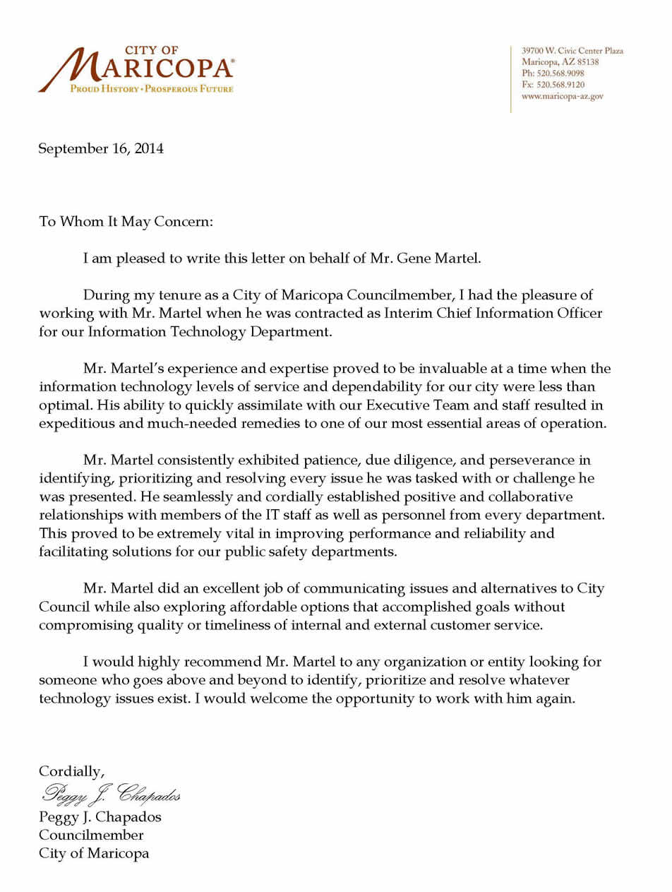 Letter from Peggy Chapados City of Maricopa Councilmember