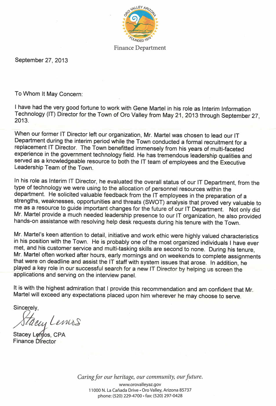 Letter from Stacey Lemos Oro Valley Finance Director