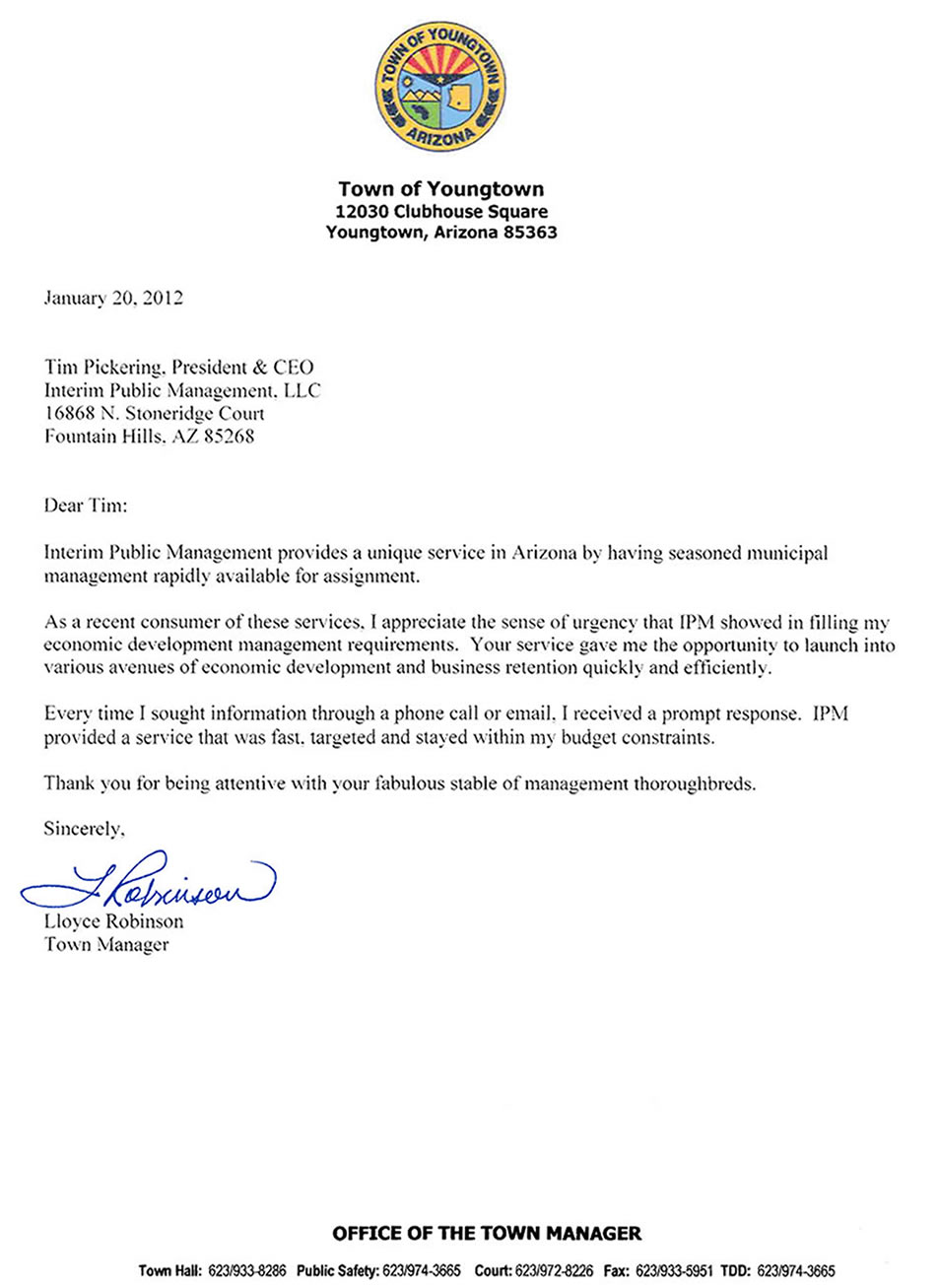 Letter from Lloyee Robinson Youngtown Town Manager
